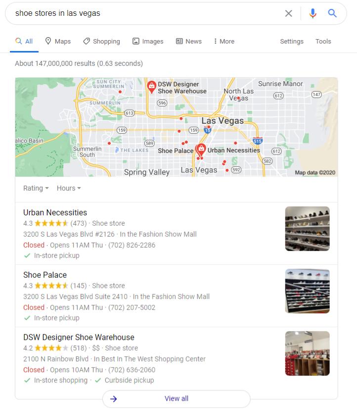 Google在拉斯维加斯的鞋店出售本地零食包装的一个示例。 这些是显示在地图下方的列表。