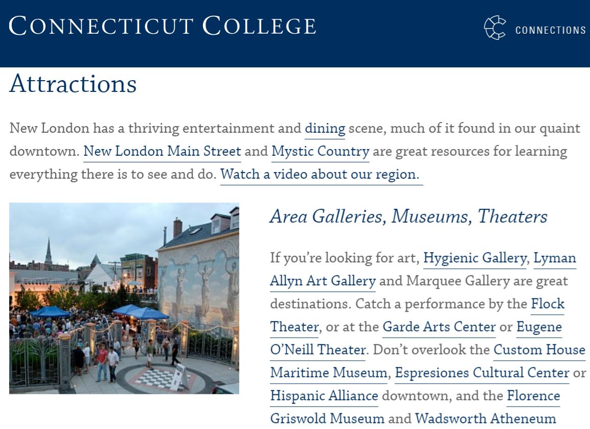 康涅狄格大学网站上的景点页面,可链接到当地机构