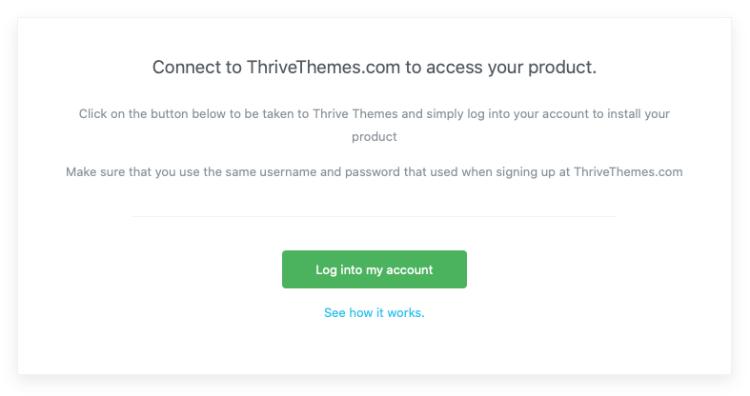 Thrive产品管理器插件的Thrive主题帐户连接