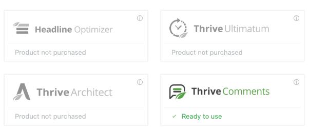Thrive主题的可用产品