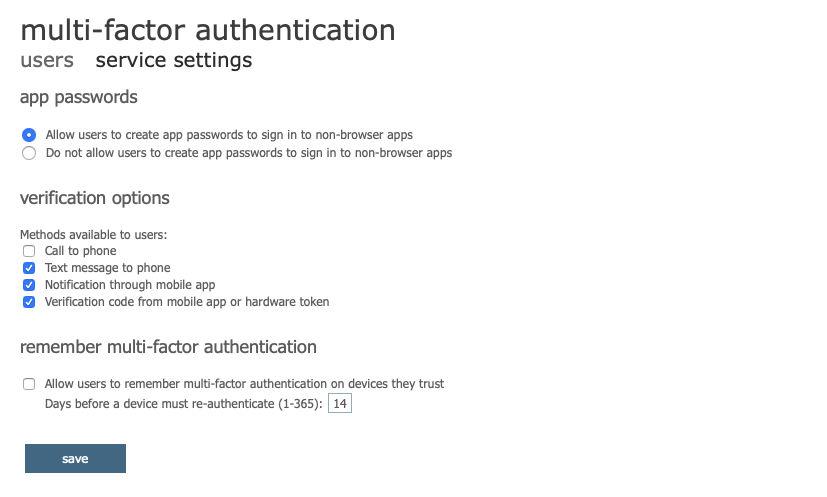 允许用户创建应用密码