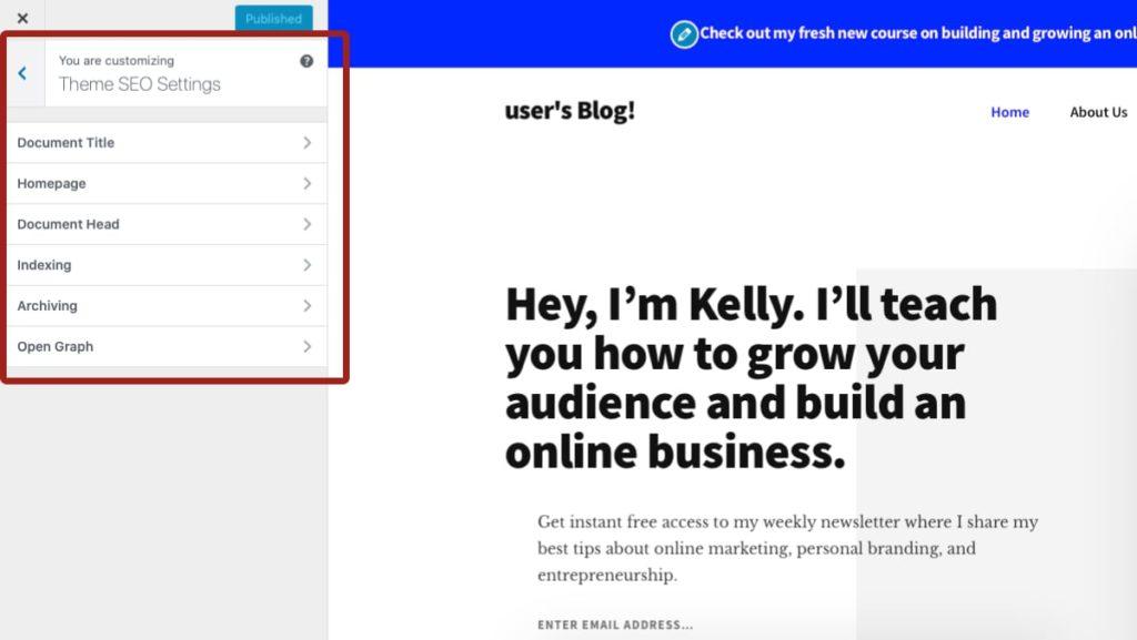 WordPress Customizer中的主题SEO设置