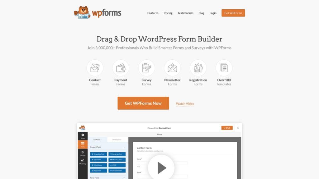 WPForms WordPress插件,用于创建表格和调查
