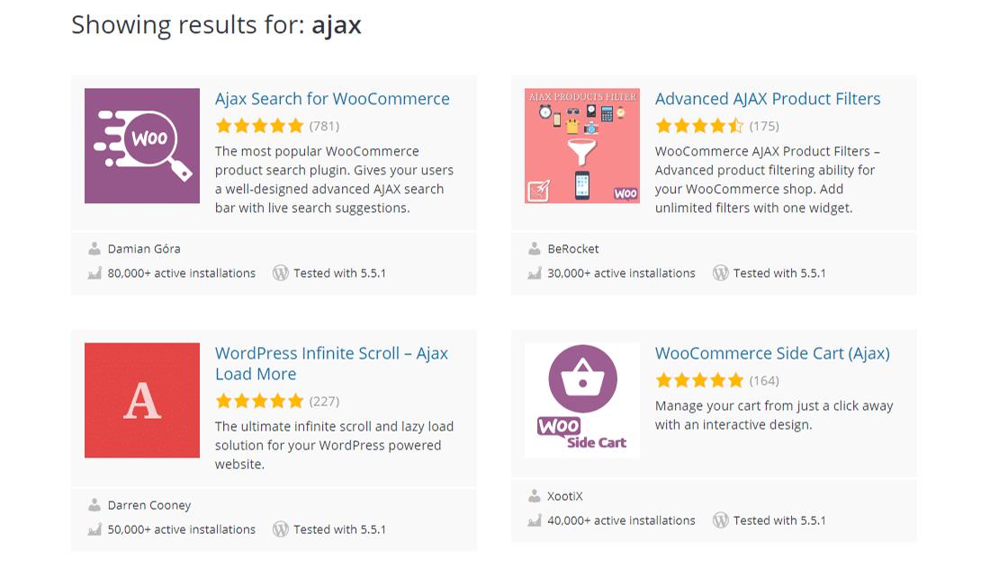 WordPress.org存储库中由Ajax驱动的插件
