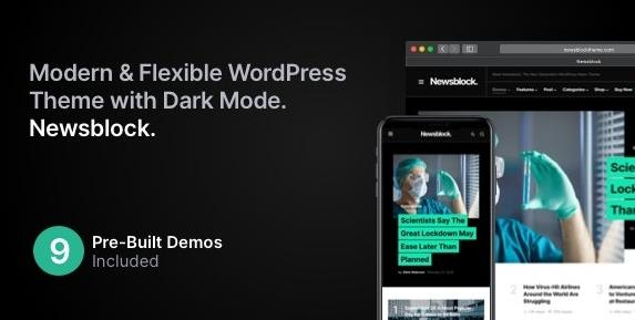 Newsblock v1.0.9-黑暗模式下的新闻与杂志WordPress主题