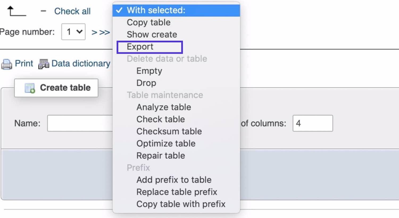 选择和导出数据库表