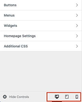 WordPress定制器中的移动,桌面和平板电脑预览按钮