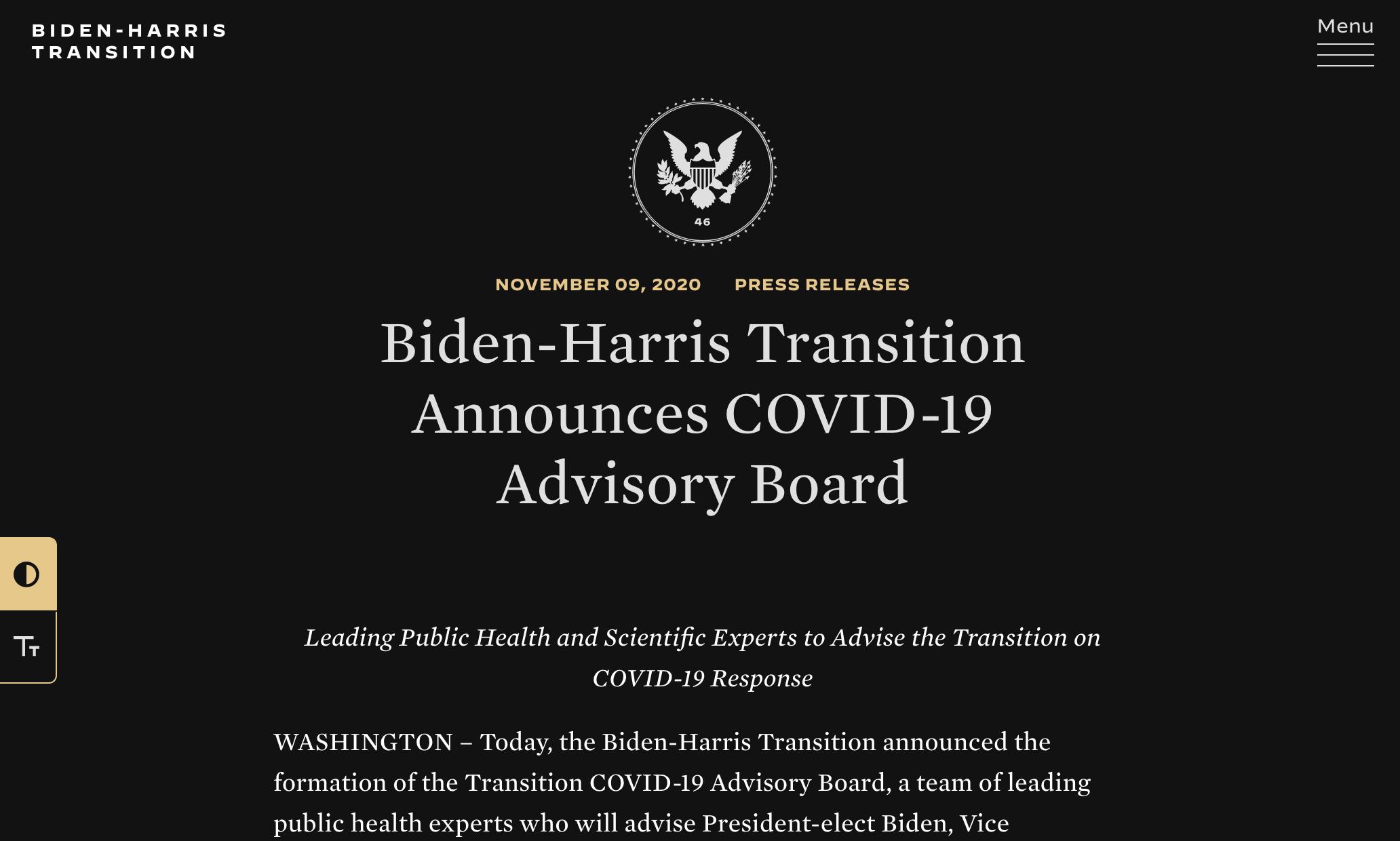 biden-harris-transition-website-launchches-on-wordpress-1拜登-哈里斯(Biden-Harris)过渡网站在WordPress上启动