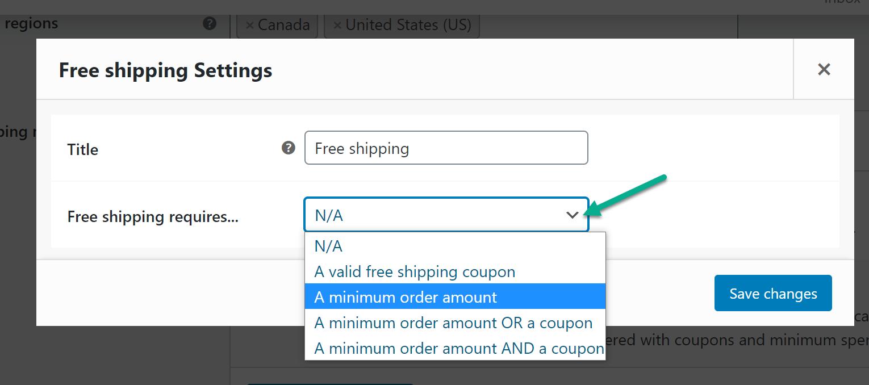 WooCommerce免费送货的最低订购量