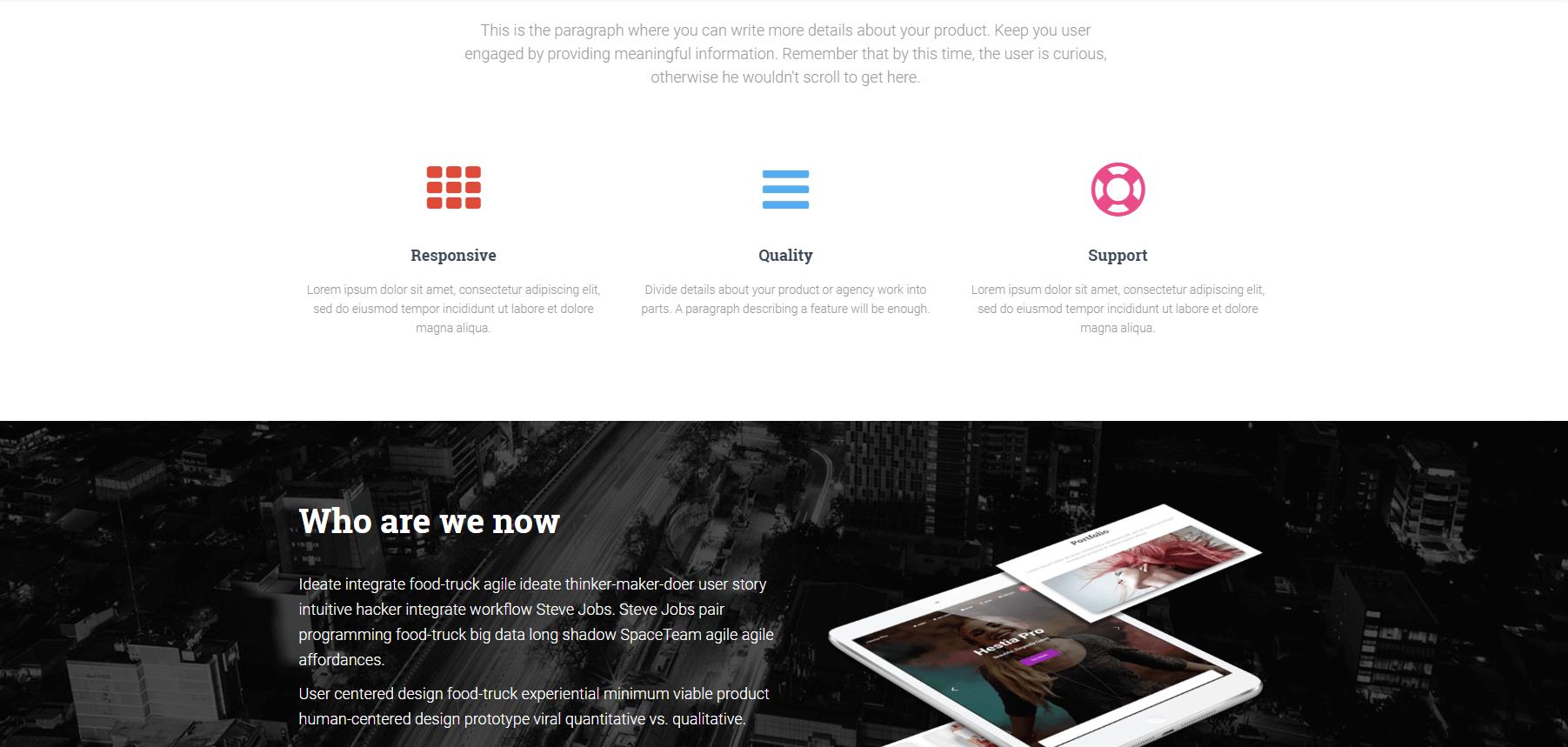 Hestia WordPress主题演示。