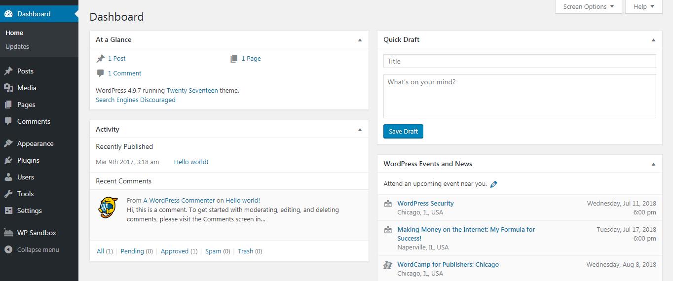 WordPress仪表板。