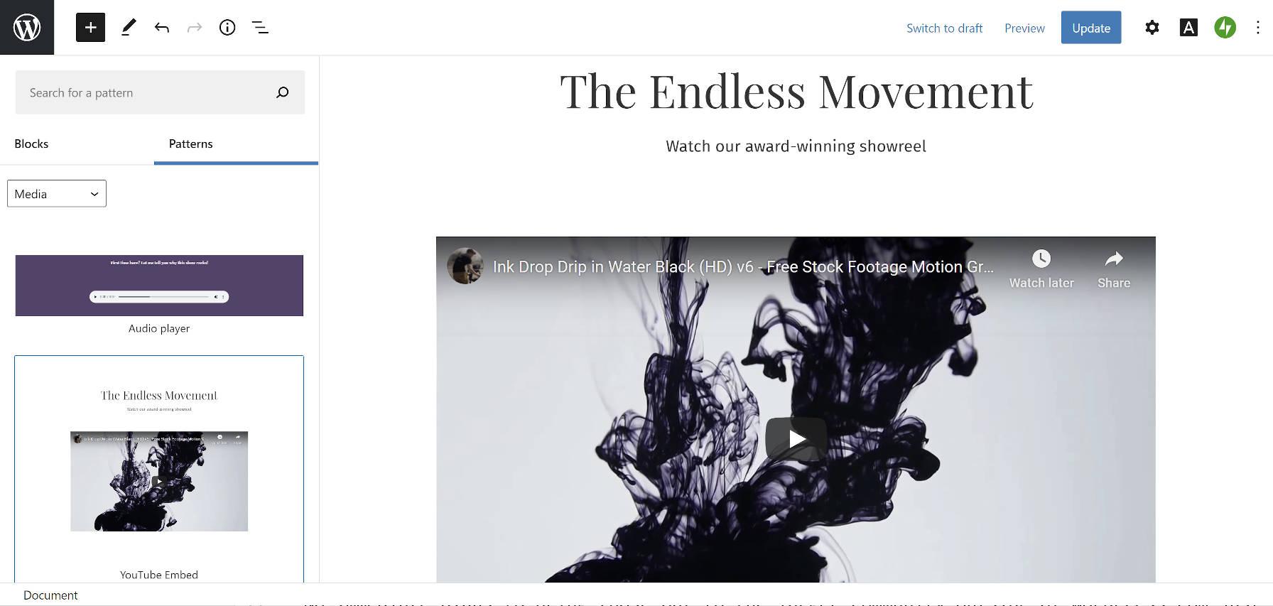 wpcom-patterns-yt-embed WordPress.com删除了100多种块模式,为设计社区应遵循的道路
