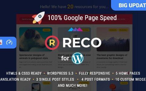 Reco v4.6.0 –博客或新闻网站WordPress的模板