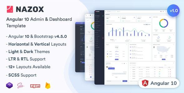 Nazox v1.0 – Angular 10管理和仪表板模板