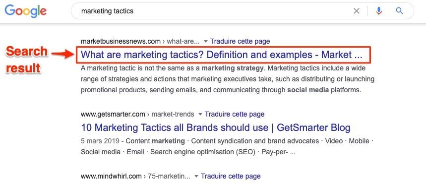 营销策略Google搜索结果