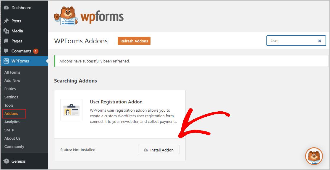 安装用户注册插件