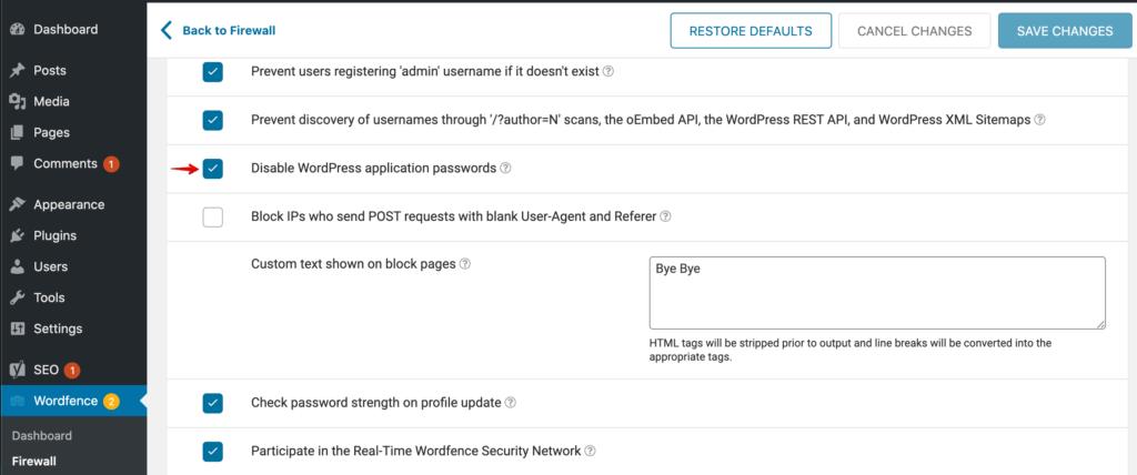 Wordfence设置以禁用应用程序密码