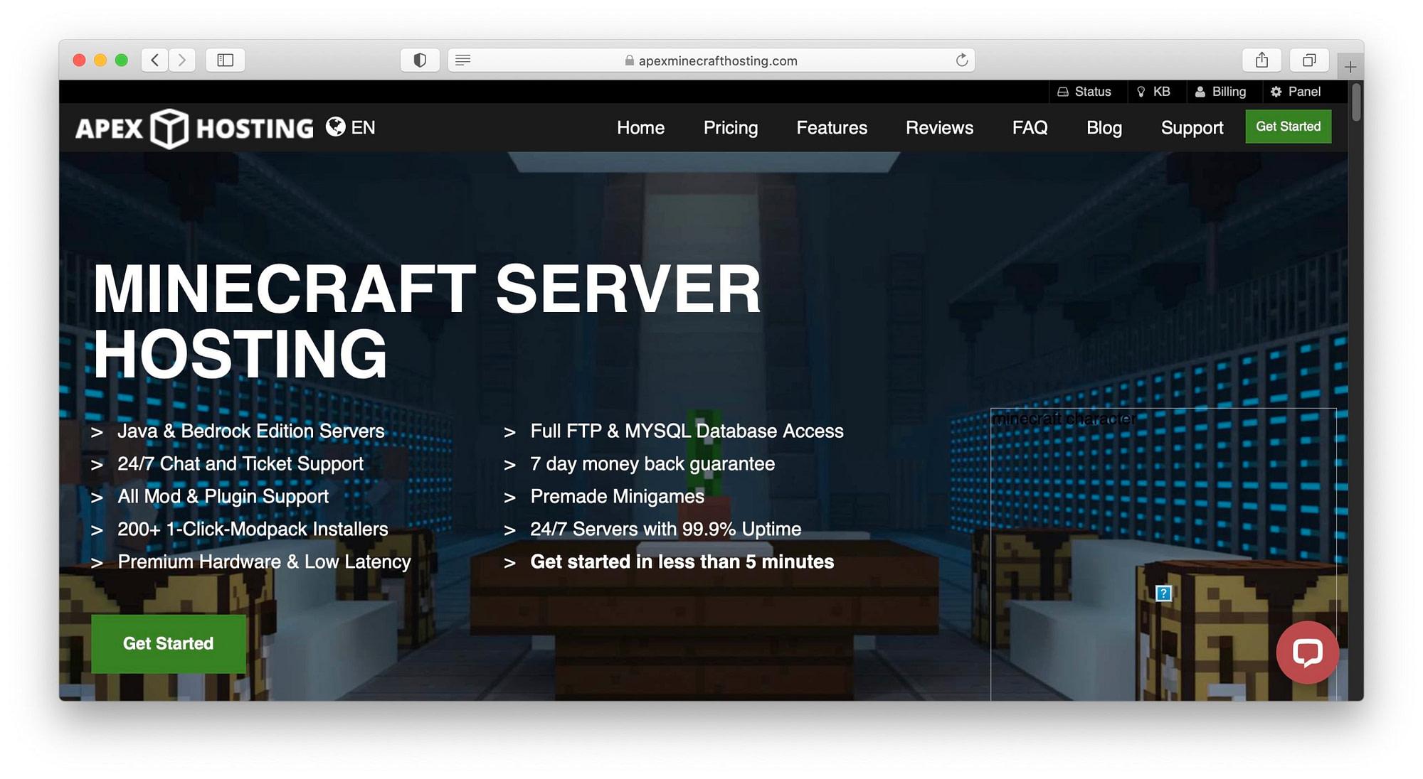 Apex Hosting Minecraft选项。