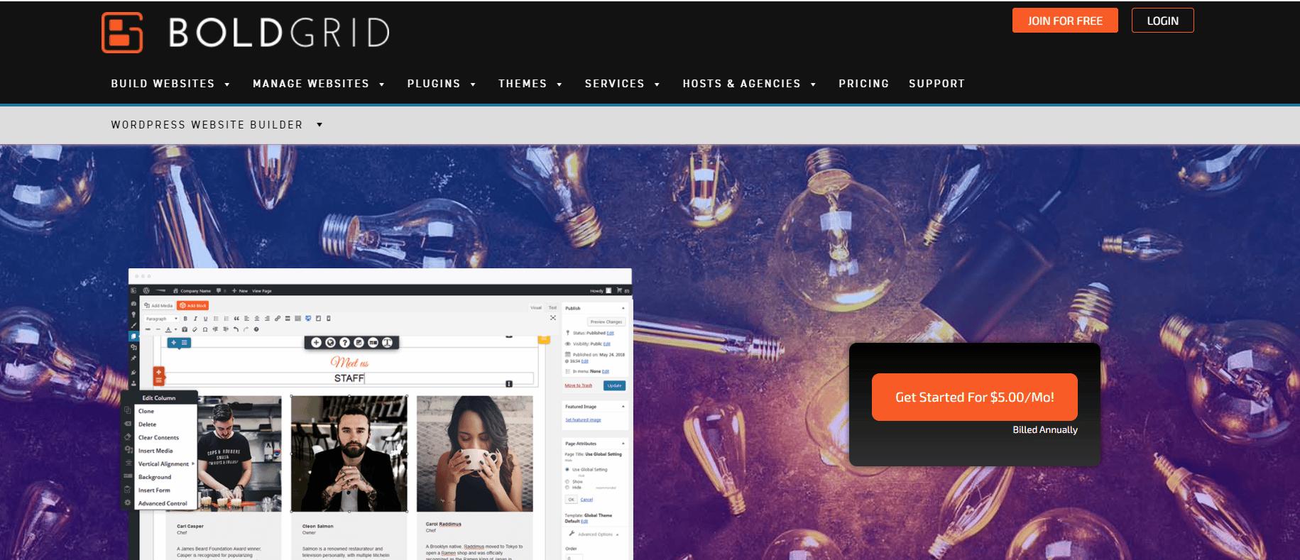 Boldgrid网站构建器。
