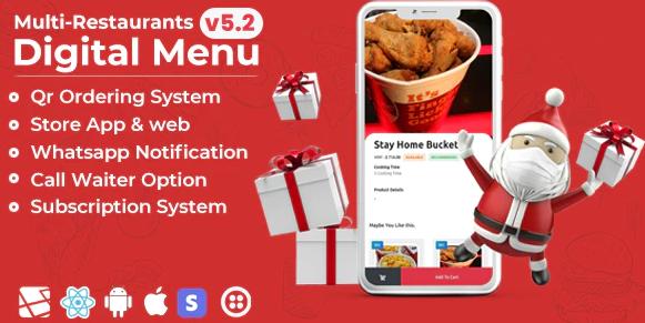 Chef v5.0-多种餐厅Saas-更少与数字菜单管理面板联系-React Native App