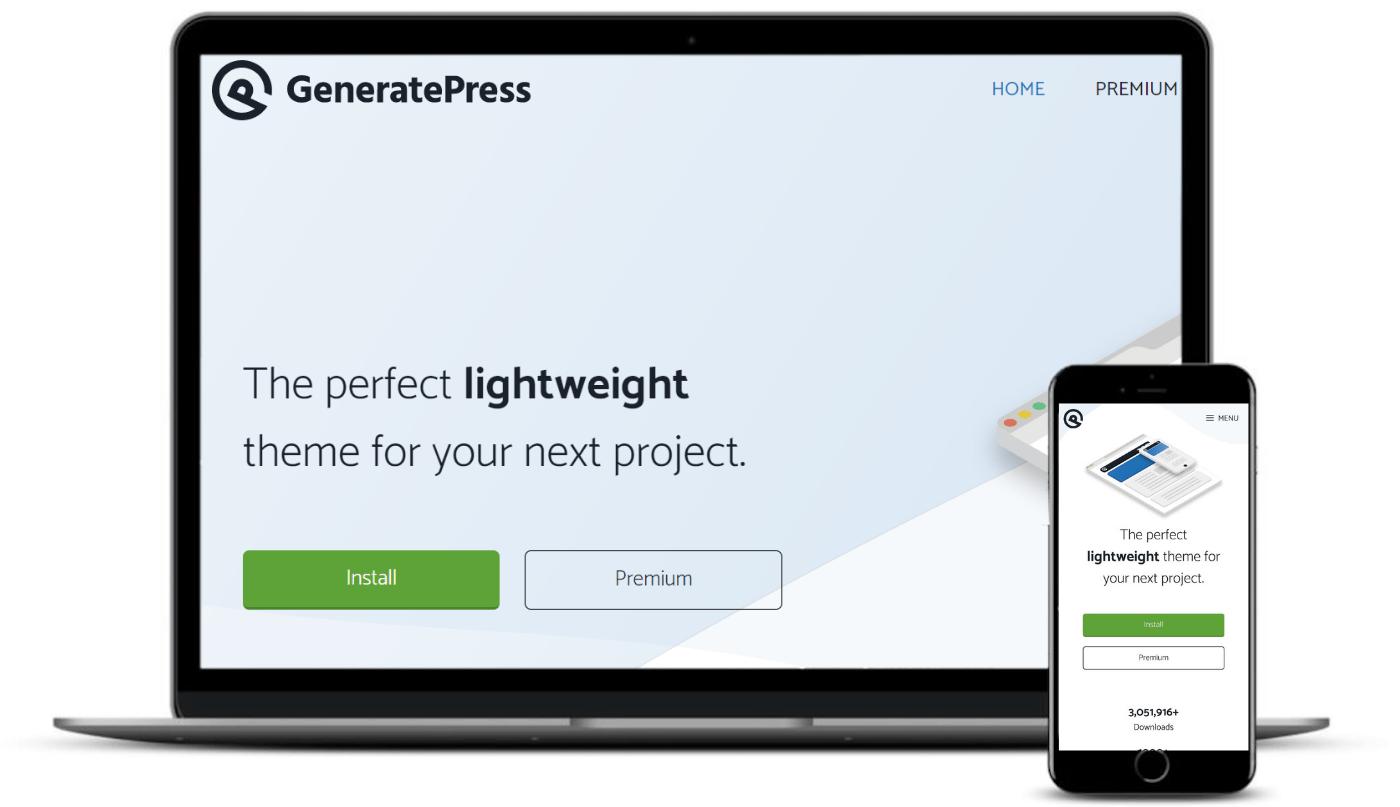 桌面和移动设备上的GeneratePress主题。