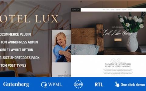 Hotel Lux v1.1.6 –度假胜地和酒店WordPress主题