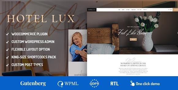 Hotel Lux v1.1.6-度假胜地和酒店WordPress主题