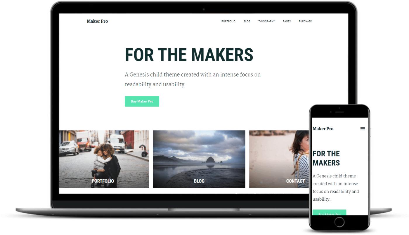 Maker Pro属于WordPress主题,例如Medium。