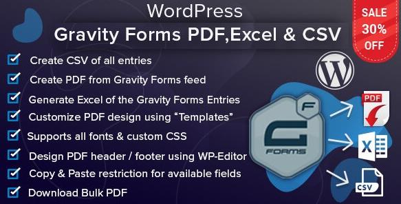 WordPress重力表格PDF,Excel和CSV v1.5.0