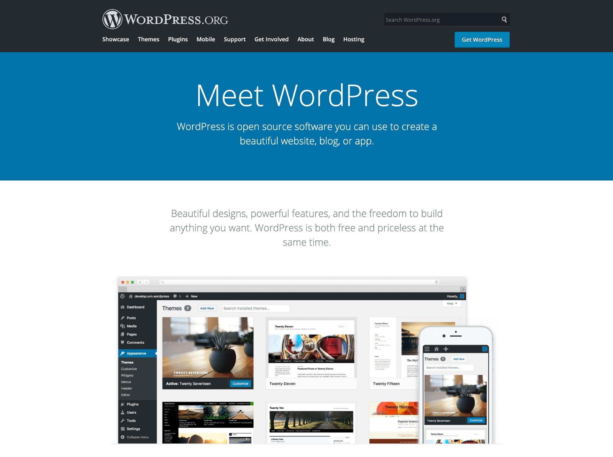 WordPress CMS。