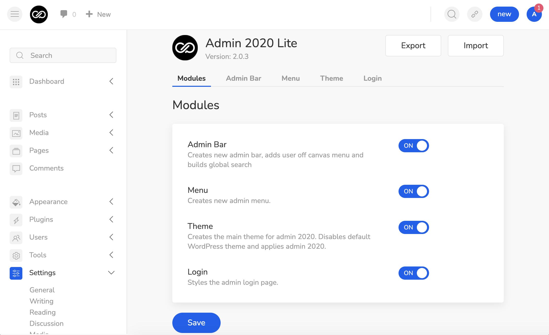 admin-2020-version-2-引入新的精简版-更好的插件-兼容性和模块化体系结构-1 Admin 2020第2版引入了新的Lite版本,更好的插件兼容性和模块化体系结构