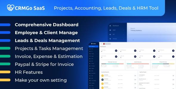 CRMGo SaaS v1.0 –项目,会计,潜在客户,交易和HRM工具