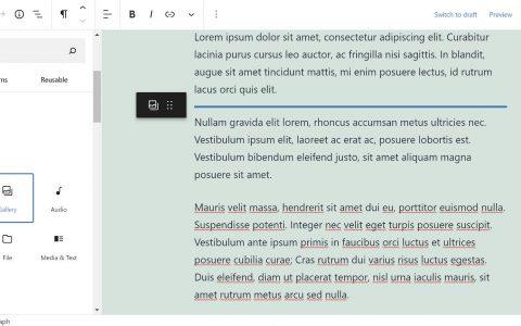 Gutenberg 9.6引入了拖放块和查询块的全局继承