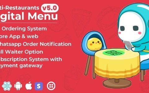 Chef v5.0 –多餐厅Saas –具有非接触式数字菜单的管理面板– React Native App