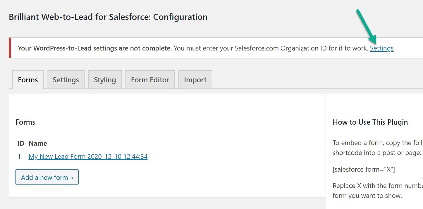WordPress Salesforce集成的设置