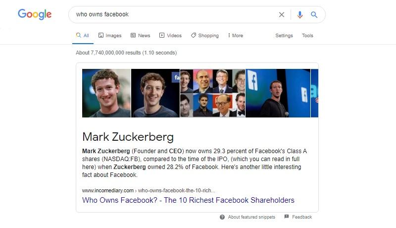 Google语音搜索,查找谁拥有Facebook