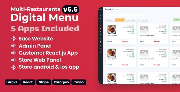 Chef v5.5 –多餐厅Saas –具有非接触式数字菜单的管理面板– React Native App