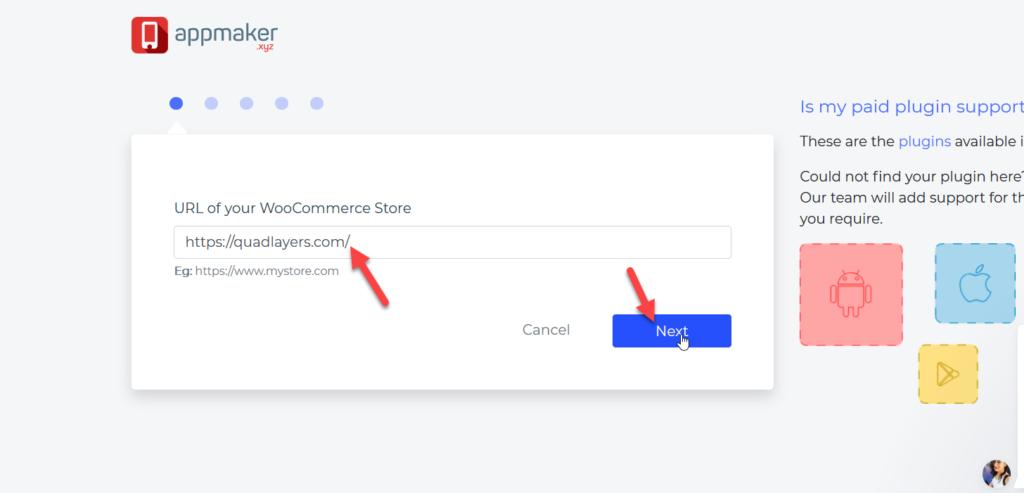 创建woocommerce移动应用程序-使用商店URL创建应用程序