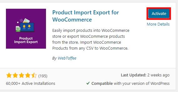 激活插件导出woocommerce产品