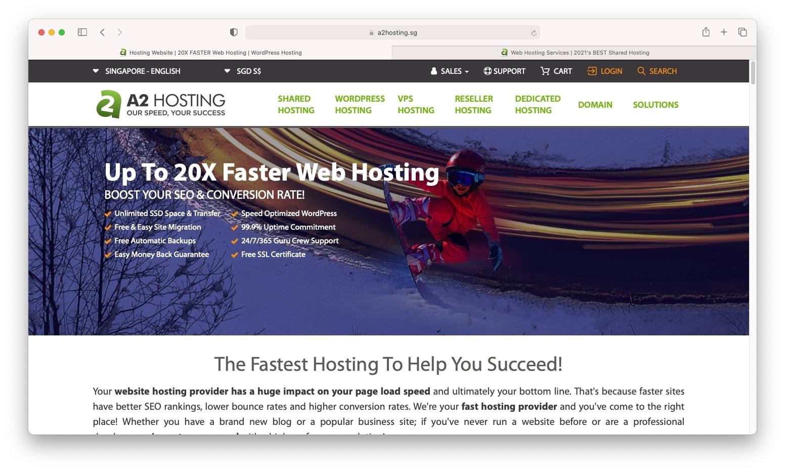A2 Hosting是新加坡最好的网络托管选项之一
