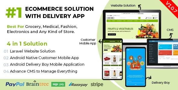 带有用于杂货店,食品店,药房和任何商店的Delivery App的电子商务解决方案v1.0.7 / Laravel + Android Apps