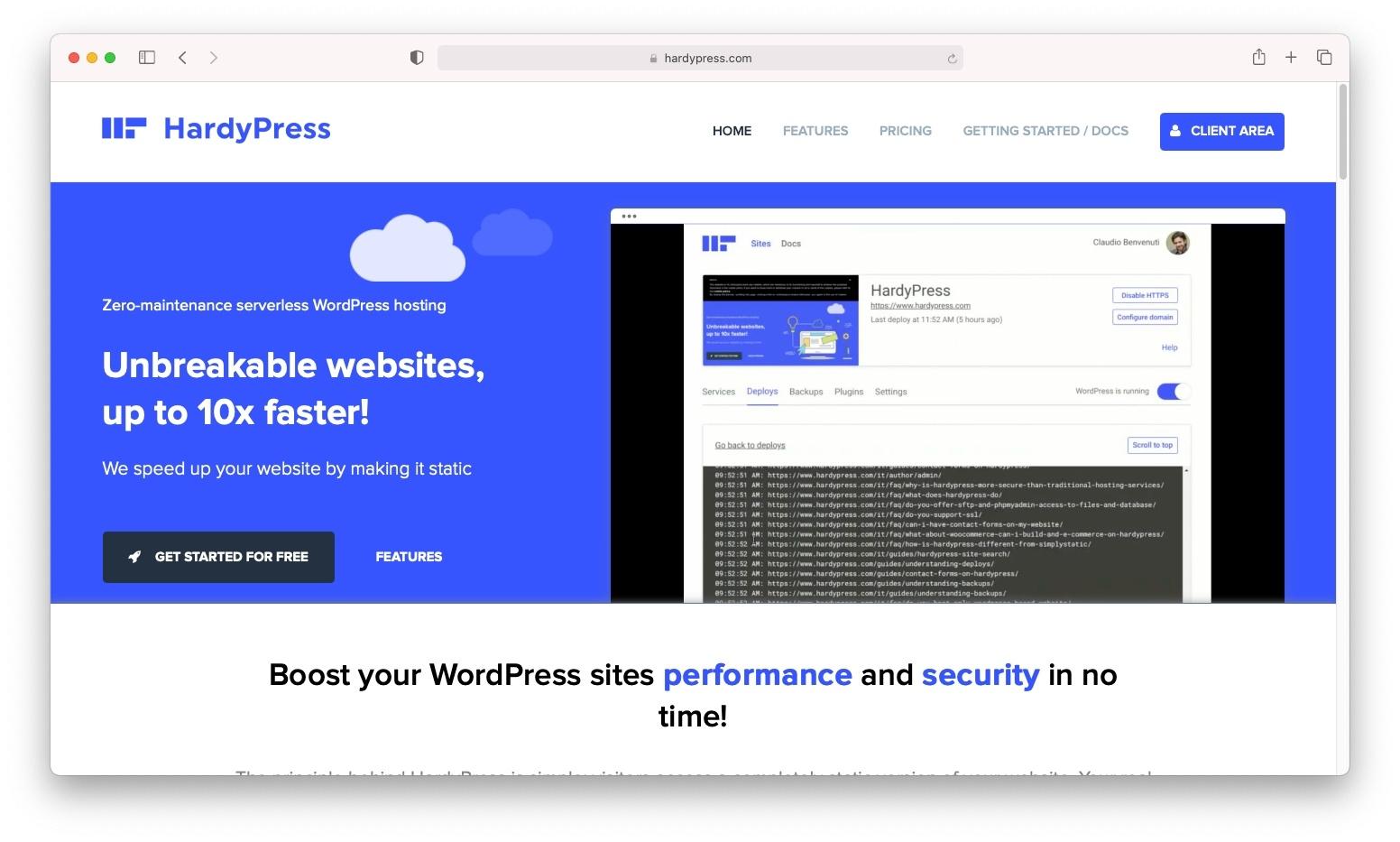 HardyPress无服务器WordPress托管。