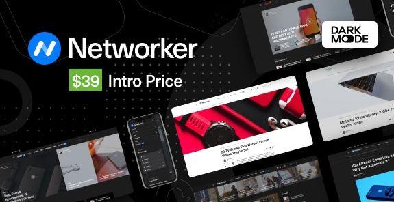 Networker v1.0.3-暗模式为空的技术新闻WordPress主题