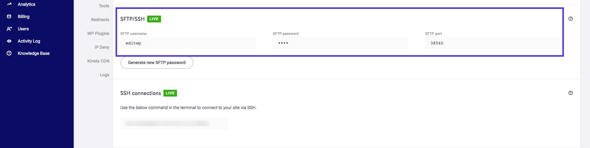 SFTP-login-details-MyKinsta
