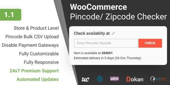 WooCommerce密码/邮政编码检查器v1.1.4