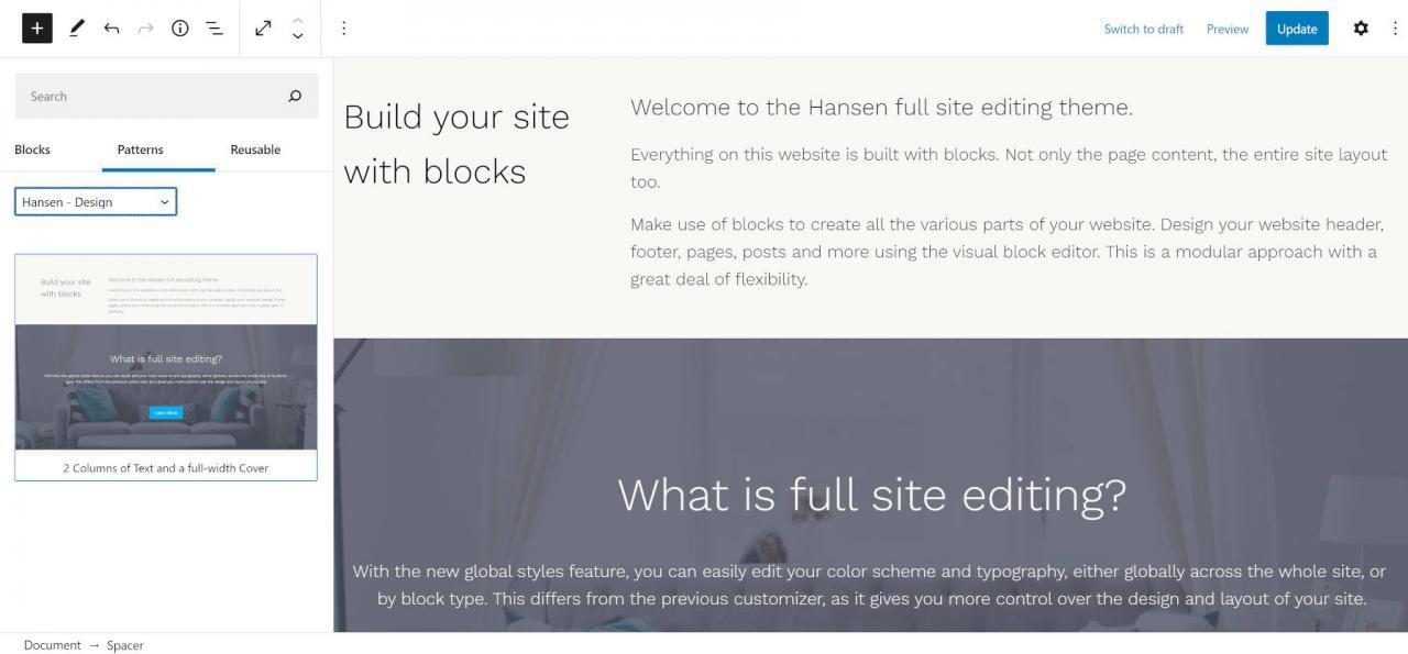 通过带有汉森主题3的块模式构建一个完整的WordPress网站,通过具有汉森主题的块模式构建一个完整的WordPress网站