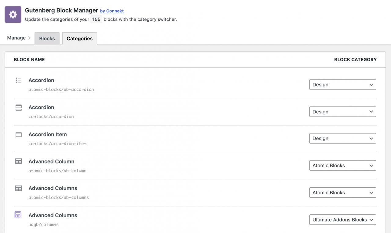 gutenberg-block-manager-plugin启用全局块删除和重新分类1 Gutenberg Block Manager插件启用全局块删除和重新分类