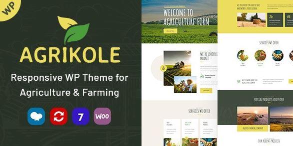 Agrikole-用于农业和农业的自适应WordPress主题
