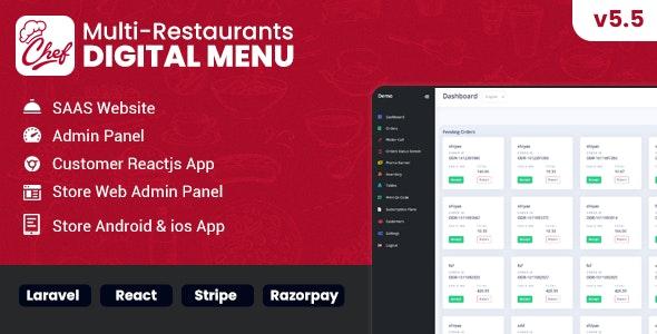 Chef v5.5.6 –多餐厅Saas –具有非接触式数字菜单的管理面板– React Native App