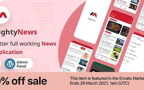 MightyNews v16 – Flutter 2.0新闻应用程序,带有WordPress后端